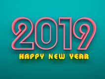 New Year 2019 - 3D Rendered Image. Happy New Year 2019 Wallpaper - 3D Rendered Image Design Royalty Free Stock Image