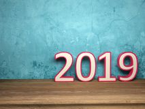 New Year 2019 - 3D Rendered Image. Happy New Year 2019 Wallpaper - 3D Rendered Image Design Stock Image