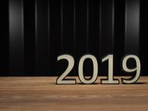 New Year 2019 - 3D Rendered Image. Happy New Year 2019 Wallpaper - 3D Rendered Image Design Stock Photo