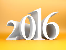 New year 2016. 3d rendered image. New year 2016. 3d render and computer generated image on a orange background Stock Photo