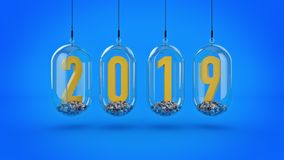 New Year 2019. 3D Rendering.  Royalty Free Stock Photos
