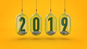 New Year 2019. 3D Rendering.  Royalty Free Stock Photography