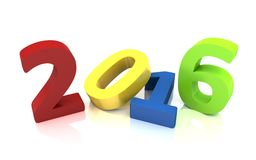New year 2016. 3d rendering Royalty Free Stock Photos
