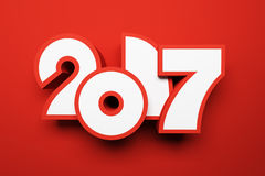 New year 2017, 3d rendering Stock Image