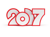 New year 2017, 3d rendering Royalty Free Stock Photos