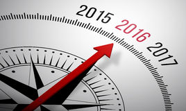 2016 New year. 3D rendering of a compass with a 2016 icon Royalty Free Stock Photography