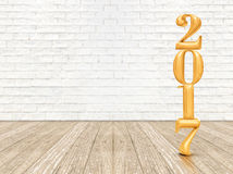New year 2017 (3d rendering) gold color number on wood plank flo. Or and white brick wall, mock up template for display of your content Royalty Free Stock Photography