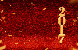 New year 2017 3d rendering gold color at perspective red spark. Ling glitter with gold confetti,Holiday greeting card design,Leave space for display or montage Royalty Free Stock Image