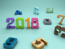 New Year 2018. 3D Rendering Image Stock Photography