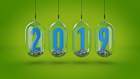 New Year 2019. 3D Rendering.  Royalty Free Stock Photo