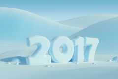New year 2017, 3d rendering Royalty Free Stock Photo