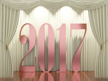New year 2017. 3d rendering of 2017 on stage Royalty Free Stock Images