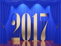 New year 2017. 3d rendering of 2017 on stage Royalty Free Stock Image