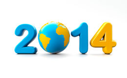 New year 2013. 3d shape on white background with glossy globe royalty free illustration