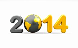 New year 2014. 3d shape on white background with glossy globe Royalty Free Stock Image