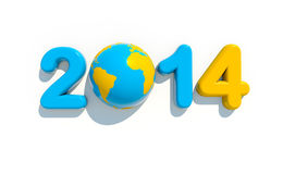 New year 2014. 3d shape on white background with glossy globe Stock Images