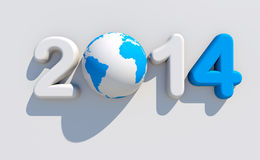New year 2014. 3d shape on white background with glossy globe Stock Illustration