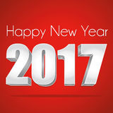 2017 New Year 3d silver on a red festive background.  illustration. Royalty Free Stock Photography