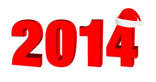 New year 2014, 3D text. In a hat of Santa Claus stock illustration