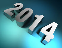New year 2014 3d text metal. On blue background. clipping path included Stock Image