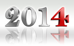 New year 2014 3d text metal and red four number. Clipping path included Royalty Free Stock Photo
