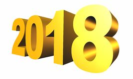 New 2018 Year 3d text. On white background Royalty Free Stock Images