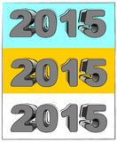 New Year in 3D. With three colorful background for you Royalty Free Stock Images