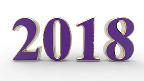 New year 2018 3d. Violet with gold with white background Royalty Free Stock Photo