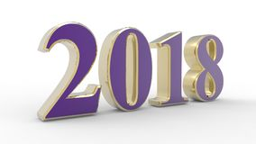 New year 2018 3d violet. With white background Royalty Free Stock Photography