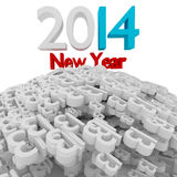 New year 2014. 3d 2014 new year in white concept Royalty Free Stock Photography