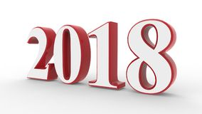 New year 2018 3d. White and red with white background Royalty Free Stock Photo