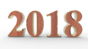 New year 2018 3d. Wood with white background Stock Image