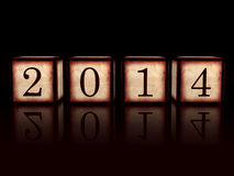 New year 2014 in 3d wooden cubes over black background Stock Photography