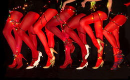New Year Dancing Composition Of Seducing Women Legs With Garland Illumination Royalty Free Stock Photo