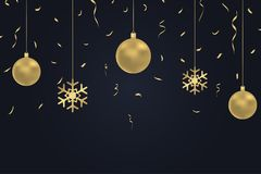 New Year dark background with gold Christmas balls, confetti and snowflake. Winter holiday card, banner, poster with golden decor. New Year dark background with vector illustration