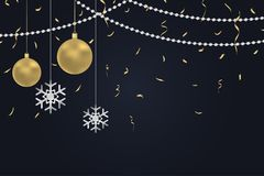 New Year dark background with gold Christmas balls and silver snowflakes, golden confetti and argent beads. Winter holiday card, banner, decoration poster with royalty free illustration