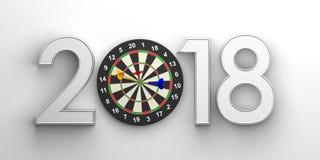 New year 2018 - darts board. 3d illustration. New year 2018 with darts board. 3d illustration royalty free illustration