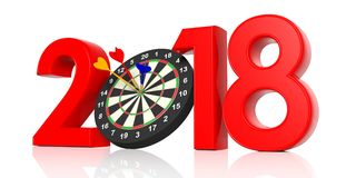 New year 2018 - darts board. 3d illustration vector illustration