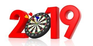 New year 2019, darts on bullseye isolated on white background. 3d illustration Royalty Free Stock Photography