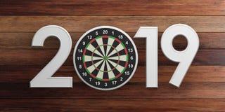 New year 2019, darts on bullseye isolated on wooden background. 3d illustration Stock Photos