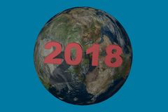 New year date 2018 above 2017.3d render illustration. New Year date 2018 composed with a blue planet earth . 3D illustration Stock Photography