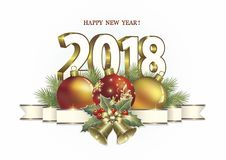 New Year 2018.Date 2018 with balls and bells. Date 2018 with balls and bells on a white background stock illustration