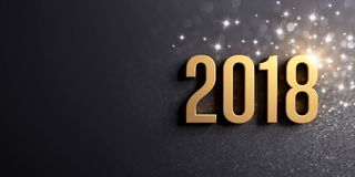 New Year 2018 date for Greetings. New Year date 2018 colored in gold, on a festive black background, with glitters and stars - 3D illustration royalty free illustration