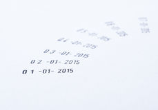 New Year date. 01 January 2015 on paper background Stock Images