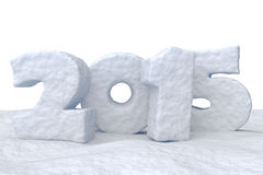New Year Date 2015 made of snow. Date New Year 2015 made of snow isolated on white background 3d illustration Stock Photos