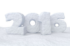 New Year Date 2016 made of snow on snow surface. Date New Year 2016 made of snow on snow surface isolated on white background 3d illustration Royalty Free Stock Photography