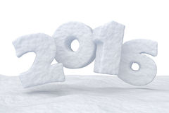 New Year Date 2016 made of snow on snow surface. Date New Year 2016 made of snow on snow surface isolated on white background 3d illustration Stock Images