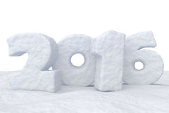 New Year Date 2016 made of snow on snow surface. Date New Year 2016 made of snow on snow surface isolated on white background 3d illustration Stock Photo