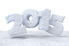 New Year Date 2015 made of snow. Date New Year 2015 made of snow  on white background 3d illustration Royalty Free Stock Photography