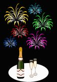 New year day. Illustration of champagne and colorful fireworks Royalty Free Stock Photos